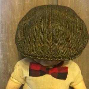 VTG 100% wool flat cap newsboy herringbone